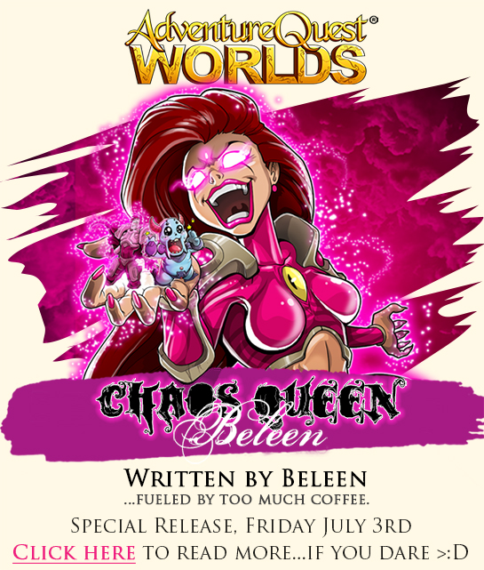 chaos queen beleen video game release aqw adventure quest worlds