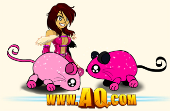 Pink Mouse pets in online game AdventureQuest Worlds