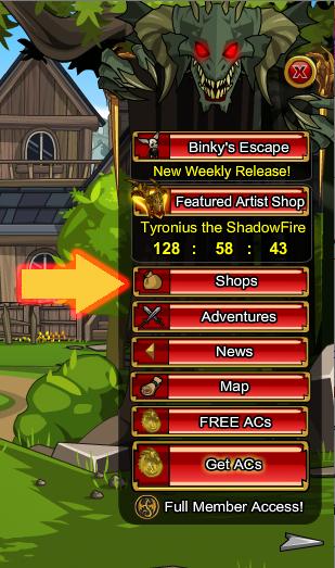 Dragon Menu in flash game AdventureQuest Worlds