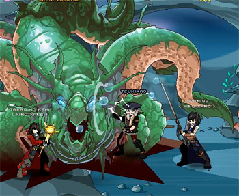 Battle Kraken in online adventure game