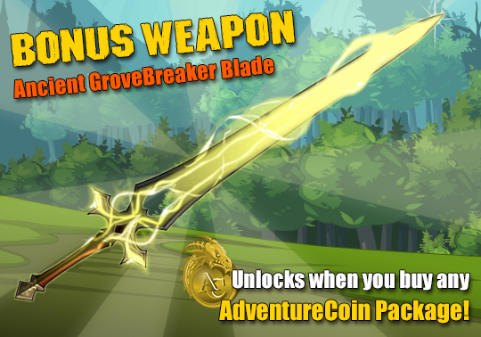 bonus weapon with any adventurecoin package