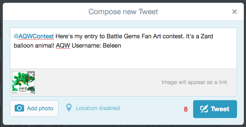 How to tweet in Battle Gems Fan Art Contest