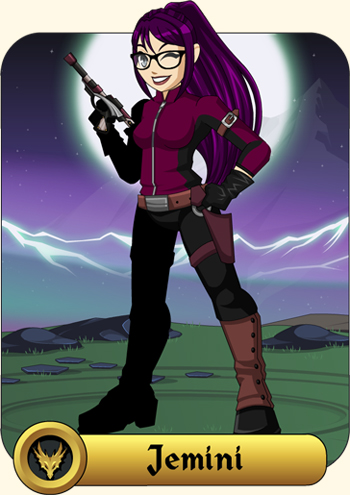 Jemini the bounty hunter in the free online game AdventureQuest Worlds