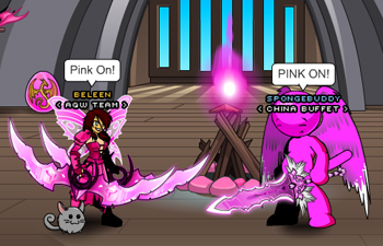 Beleen and Spongebuddy in online game AQW
